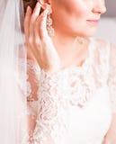 Stäng sig upp av den härliga kvinnan som bär skinande diamantörhängen arkivbilder