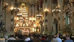 Stäng sig upp av den inre framdelen av kyrkan av helgonjoesph i rio arkivfilmer