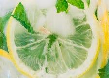 Stäng sig upp av den kalla nya citronen och mintkaramellen Arkivfoto