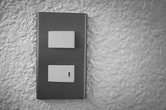 Stäng sig upp av den ljusa strömbrytaren med solljus och skugga på vit bakgrund, vänd på och vänd av, kopieringsutrymme, Royaltyfria Foton