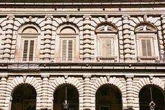 Stäng sig upp av den Pitti slotten i Florence, Tuscany, Italien Arkivbilder