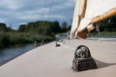 Stäng sig upp av en fnuren på däcket av en yacht royaltyfria foton