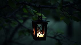 Stäng sig upp av en gullig stearinljus i stearinljuslyktaljus på skymning