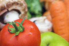 Stäng sig upp av en ny saftig mogen tomat med en suddig bakgrund Royaltyfria Bilder
