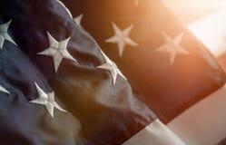 Stäng sig upp av en stjärna på amerikanska flaggan royaltyfria bilder