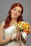 Stäng sig upp av en trevlig ung bröllopbrud Royaltyfria Foton