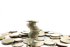 Stäng sig upp av ett materiel av thai mynt, Arkivfoton