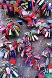 Stäng sig upp av 'eviga förälskelselås i den Heidelberg Tyskland royaltyfri fotografi