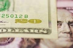 Stäng sig upp av för amerikandollar för USA 100 räkning för pengar Fotografering för Bildbyråer