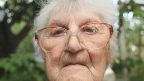 Stäng sig upp av gammal kvinna i glasögon som ser in i kamera Utomhus- stående av farmodern stock video