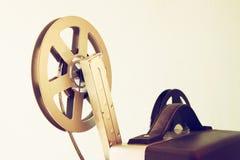 Stäng sig upp av gammal rulle för 8mm filmprojektor Fotografering för Bildbyråer