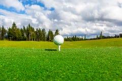 Stäng sig upp av golfboll och utslagsplatsen, perspektiv av sommarlandskapet Royaltyfria Bilder