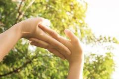 Stäng sig upp av händer av kvinnan som övar i solljus arkivfoto