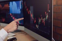 Stäng sig upp av handaffärsmannen som i regeringsställning pekar graf- och analysaktiemarknaden på datoren royaltyfri bild