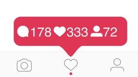 Stäng sig upp av Instagram som, kommentarer, anhängareräknare stock video