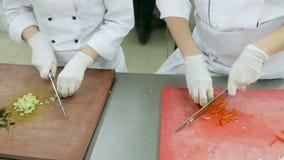 Stäng sig upp av kockar som skivar ny selleri och peppar på en träskärbräda lager videofilmer