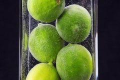 Stäng sig upp av limefrukter i vase Arkivfoto