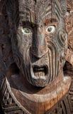 Stäng sig upp av Maori Mask som snider, Rotorua, Nya Zeeland Fotografering för Bildbyråer