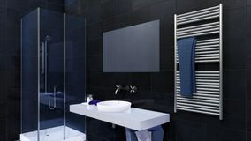 Stäng sig upp av modernt badrum med walk-induschen royaltyfri illustrationer