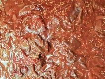 Stäng sig upp av ny skivad grisköttleverbakgrund, för koreanskt grillfestgaller, yakiniku eller sukiyaki fotografering för bildbyråer