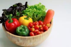 Stäng sig upp av nya grönsaker i en träbunke, den gröna eken, den röda eken, moroten, spanska peppar, körsbärsröda tomater arkivbilder