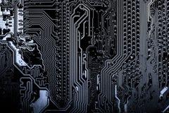 Stäng sig upp av strömkretsar som är elektroniska på brädet för logik för bakgrund för den Mainboard teknologidatoren, CPU-moderk Royaltyfria Foton