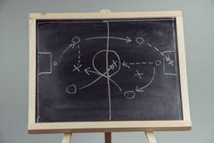 stäng sig upp av taktik för en fotboll som drar på den svart tavlan Fotografering för Bildbyråer