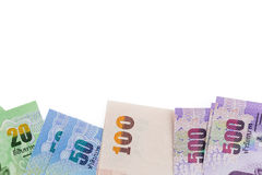 Stäng sig upp av thai pengar på (isolerad) bakgrund, Fotografering för Bildbyråer