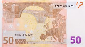 Stäng sig upp av tillbaka sida av eurosedeln Arkivfoto