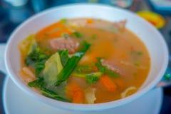 Stäng sig upp av traditionell Nepali och sund soppa som tjänas som i en vit bunkeplatta i Nepal Arkivbild