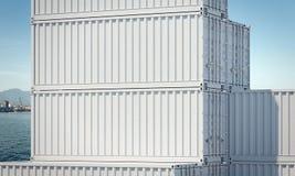 Stäng sig upp av vita lastbehållare, tolkningen 3d royaltyfria bilder