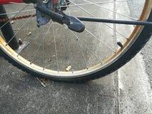 Stäng sig upp bild av det plana gummihjulet av den gamla cykeln Arkivfoto