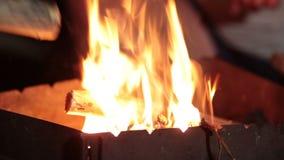 Stäng sig upp brinnande trä i grillfesten på natten lager videofilmer