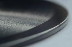 Stäng sig upp den gamla kanstödda vinyldisketten Record_3 för makroen Royaltyfri Foto