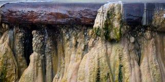 Stäng sig upp den GeyserHot Springs gränsmärket på offentliga Raksawarin parkerar I Arkivbild