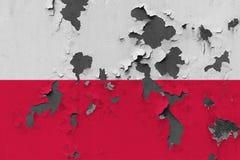 Stäng sig upp den grungy, skadade och red ut Polen flaggan på väggen som skalar av målarfärg för att se inom yttersida royaltyfri illustrationer