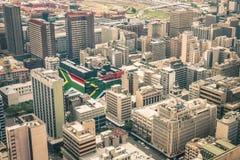 Stäng sig upp detaljen av skyskrapor i i stadens centrum Johannesburg royaltyfri fotografi