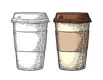 Stäng sig upp för avhämtning kaffe med lock- och kopphållaren stock illustrationer