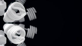 Stäng sig upp för vit energi - att rotera för besparinglampor som isoleras på svart bakgrund djur Monokrom abstrakt rörelse av vektor illustrationer