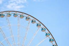 Stäng sig upp jätten Ferris Wheel i Hong Kong nära Victoria Harbor Arkivfoton