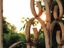 Stäng sig upp modell av smidesjärndörren med solnedgången och göra grön arkivfoton