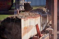 Stäng sig upp på ett industriellt såg klippbråte Royaltyfria Bilder
