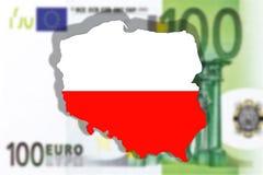 Stäng sig upp på Polen på sedel för euro 100 Royaltyfri Fotografi