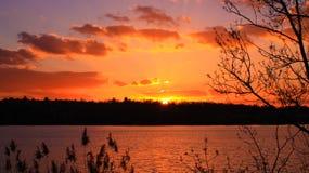 Stäng sig upp på solen på horisonten i ett landslandskap arkivfoton