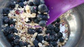 STÄNG SIG UPP sädesslag med blåbär som kammas hem med en sked för frukost stock video