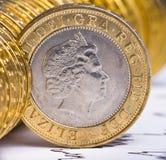 Stäng sig upp sikt av brittisk valuta Arkivfoto