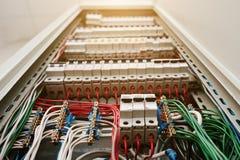 Stäng sig upp sikt av den elektriska panelen med säkringar och contactors Royaltyfri Foto