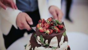 Stäng sig upp sikt av en brud och en brudgum som klipper deras bröllopstårta i stilen av bohoen med choklad och nya bär arkivfilmer