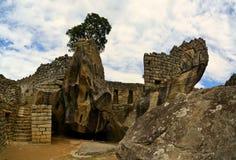 Stäng sig upp sikt av templet, Machu Picchu, borttappad Inca Fotografering för Bildbyråer