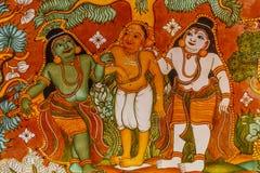 Stäng sig upp sikten av forntida indiska gudinnaväggmålningar, Chennai, Tamil Nadu, Indien Februari 25, 2017 Arkivbild